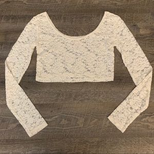 NWOT Mossimo Supply Co White Lace Long-sleeve Crop